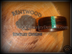 Bentwood Ring - Macassar Ebony Wood Ring and Transverse Malachite Inlay - Bentwood Jewelry Designs - Custom Handcrafted Bentwood Wood Rings  - 3