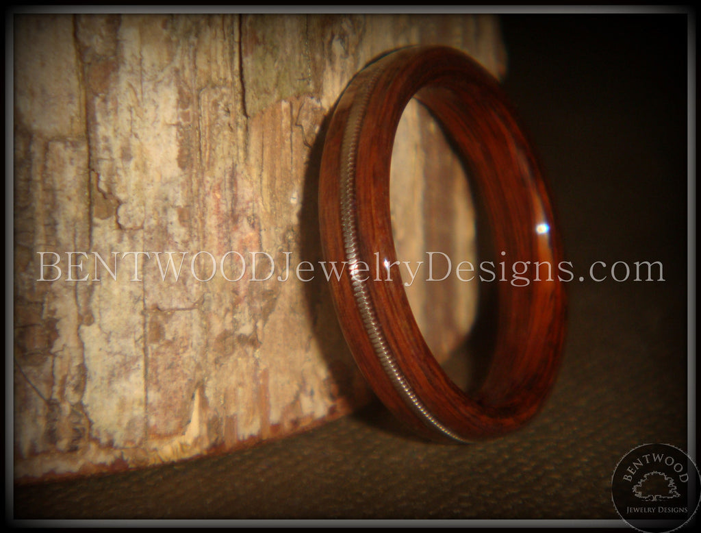 "Bentwood Ring - ""Electric"" Rosewood Wood Ring with Guitar String Inlay handcrafted bentwood wooden rings wood wedding ring engagement"