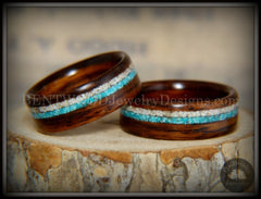 Rosewood wood ring sleeping beauty turquoise beach sand inlay