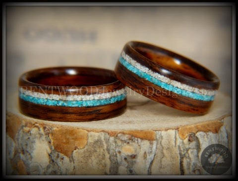 Bentwood Rings Set - Rosewood Wood Ring with Sleeping Beauty Turquoise and Beach Sand Inlay