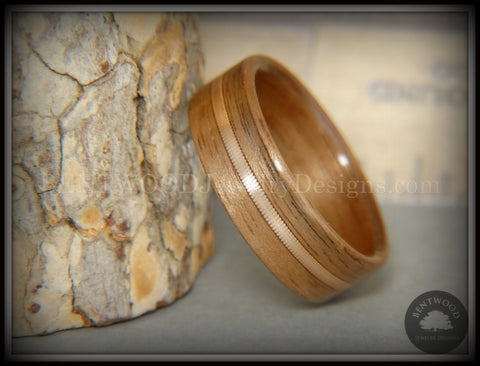 Bentwood Ring - Walnut Wood Ring with Bronze Acoustic Guitar String Inlay