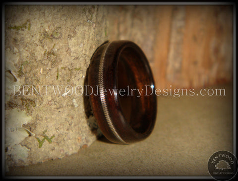 "Bentwood Ring - ""Electric"" Macassar Ebony Wood Ring with Thick Guitar String Inlay"