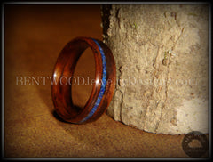 Bentwood Ring - E. Indian Rosewood Wooden Ring with Offset Blue Lapis Inlay - Bentwood Jewelry Designs - Custom Handcrafted Bentwood Wood Rings  - 2