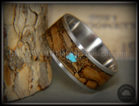 "Bentwood Ring - ""Figured Brown Turquoise"" Rare Mediterranean Oak Burl Wood Ring on Surgical Grade Stainless Steel Comfort Fit Core"