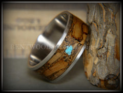 "Bentwood Ring - ""Figured Brown Turquoise"" Rare Mediterranean Oak Burl Wood Ring on Surgical Grade Stainless Steel Comfort Fit Core - Bentwood Jewelry Designs - Custom Handcrafted Bentwood Wood Rings"