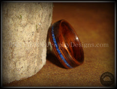 Bentwood Ring - E. Indian Rosewood Wooden Ring with Offset Blue Lapis Inlay - Bentwood Jewelry Designs - Custom Handcrafted Bentwood Wood Rings
