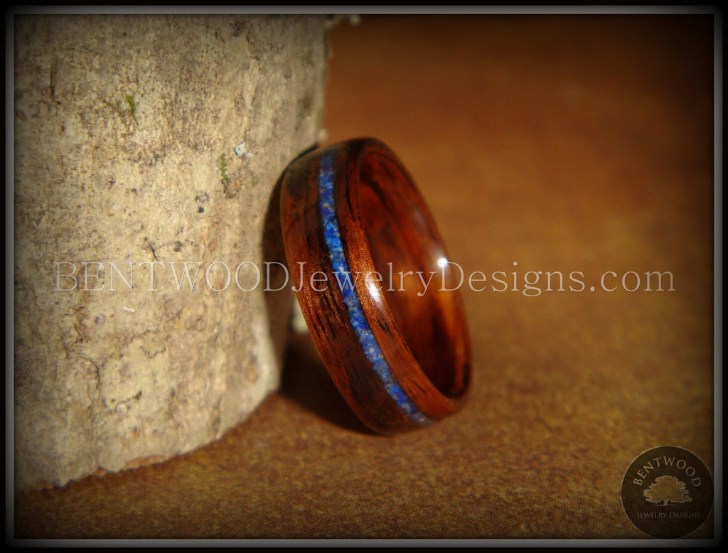 Bentwood Ring - E. Indian Rosewood Wooden Ring with Offset Blue Lapis Inlay - Bentwood Jewelry Designs - Custom Handcrafted Bentwood Wood Rings  - 1