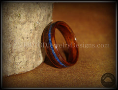 Bentwood Ring - E. Indian Rosewood Wooden Ring with Offset Blue Lapis Inlay - Bentwood Jewelry Designs - Custom Handcrafted Bentwood Wood Rings  - 5