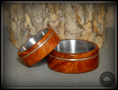 Bentwood Rings Set - Amboyna Burl Wood Ring Set with Bronze Guitar String Inlays - Bentwood Jewelry Designs - Custom Handcrafted Bentwood Wood Rings