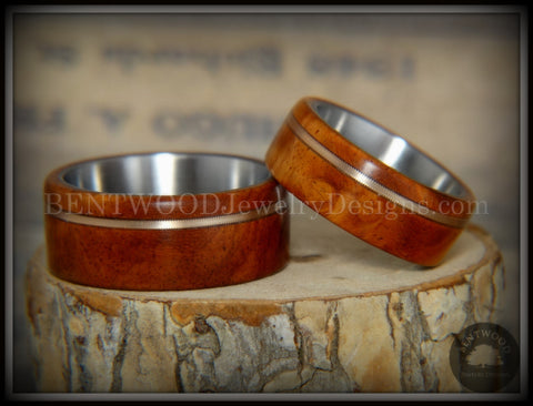 Bentwood Rings Set - Amboyna Burl Wood Ring Set with Bronze Guitar String Inlays SS Core
