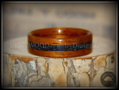 "Bentwood Ring - ""Legendary"" Hawaiian Koa Wood Ring with Hematite Inlay handcrafted bentwood wooden rings wood wedding ring engagement"