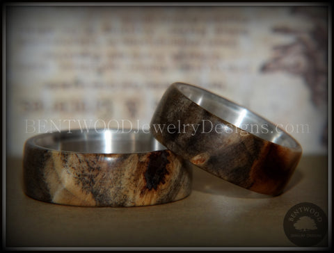 "Bentwood Rings Set - ""Midwest"" Buckeye Burl on Silver Core Classic Wood Ring Bands"