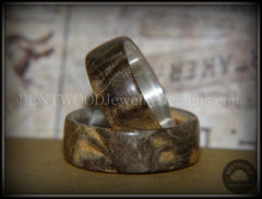 "Bentwood Rings Set - ""Midwest"" Buckeye Burl on Silver Core Classic Wood Ring Bands - Bentwood Jewelry Designs - Custom Handcrafted Bentwood Wood Rings  - 5"