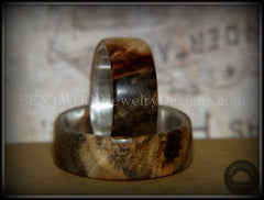 "Bentwood Rings Set - ""Midwest"" Buckeye Burl on Silver Core Classic Wood Ring Bands - Bentwood Jewelry Designs - Custom Handcrafted Bentwood Wood Rings  - 3"