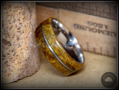 "Bentwood Ring - ""Forest Dye"" Box Elder on Surgical Stainless Steel with Silver Guitar String Inlay - Bentwood Jewelry Designs - Custom Handcrafted Bentwood Wood Rings  - 4"