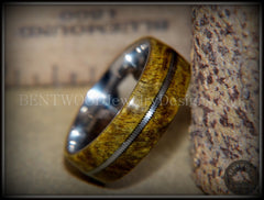 "Bentwood Ring - ""Forest Dye"" Box Elder on Surgical Stainless Steel with Silver Guitar String Inlay - Bentwood Jewelry Designs - Custom Handcrafted Bentwood Wood Rings  - 2"