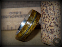 "Bentwood Ring - ""Forest Dye"" Box Elder on Surgical Stainless Steel with Silver Guitar String Inlay - Bentwood Jewelry Designs - Custom Handcrafted Bentwood Wood Rings"