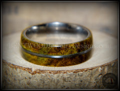 "Bentwood Ring - ""Forest Dye"" Box Elder on Surgical Stainless Steel with Silver Guitar String Inlay - Bentwood Jewelry Designs - Custom Handcrafted Bentwood Wood Rings  - 3"