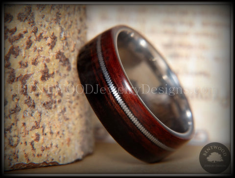 Bentwood Ring - Kingwood Wood Ring with Heavy Gauge Silver Electric Guitar String Inlay on Surgical Steel Core