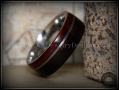 Bentwood Ring - Kingwood Wood Ring with Heavy Gauge Silver Electric Guitar String Inlay on Surgical Steel Core handcrafted bentwood wooden rings wood wedding ring engagement