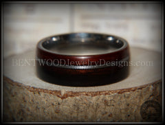 Bentwood Ring - Kingwood Wood Ring with Heavy Gauge Silver Electric Guitar String Inlay on Surgical Steel Core - Bentwood Jewelry Designs - Custom Handcrafted Bentwood Wood Rings