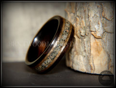 "Bentwood Ring - ""Tracks"" Macassar Ebony Wood Ring Braided Gold and Canadian Beach Sand Inlay handcrafted bentwood wooden rings wood wedding ring engagement"