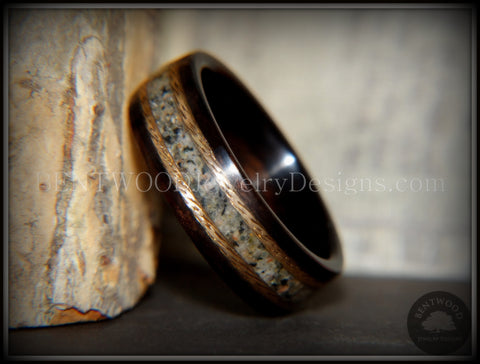"Bentwood Ring - ""Tracks"" Macassar Ebony Wood Ring Braided Gold and Canadian Beach Sand Inlay"