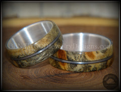 "Bentwood Rings Set - ""California"" Buckeye Burl Rings on Silver Core with Electric Guitar String Inlay - Bentwood Jewelry Designs - Custom Handcrafted Bentwood Wood Rings"