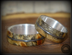 "Bentwood Rings Set - ""California"" Buckeye Burl Rings on Silver Core with Electric Guitar String Inlay - Bentwood Jewelry Designs - Custom Handcrafted Bentwood Wood Rings  - 1"