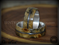 "Bentwood Rings Set - ""California"" Buckeye Burl Rings on Silver Core with Electric Guitar String Inlay - Bentwood Jewelry Designs - Custom Handcrafted Bentwood Wood Rings  - 5"