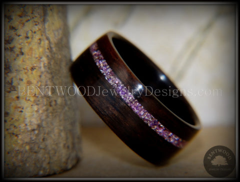 Bentwood Ring - Macassar Ebony Wood Ring with Silver Amethyst Glass Inlay