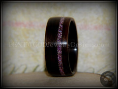 Bentwood Ring - Macassar Ebony Wood Ring with Silver Amethyst Glass Inlay - Bentwood Jewelry Designs - Custom Handcrafted Bentwood Wood Rings