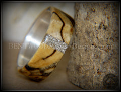 Bentwood Ring - Spalted Maple Ring on Fine Silver Core and Transverse Silver Glass Inlay - Bentwood Jewelry Designs - Custom Handcrafted Bentwood Wood Rings  - 2