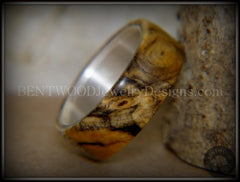 Bentwood Ring - Spalted Maple Ring on Fine Silver Core and Transverse Silver Glass Inlay - Bentwood Jewelry Designs - Custom Handcrafted Bentwood Wood Rings