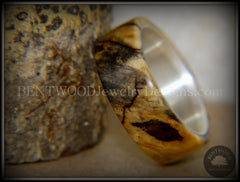 Bentwood Ring - Spalted Maple Ring on Fine Silver Core and Transverse Silver Glass Inlay - Bentwood Jewelry Designs - Custom Handcrafted Bentwood Wood Rings  - 4