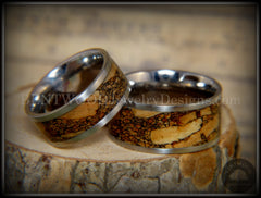 Bentwood Rings Set - Mediterranean Oak Burl on Surgical Steel Core with Cremation Ashes Inlay - Bentwood Jewelry Designs - Custom Handcrafted Bentwood Wood Rings  - 4