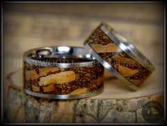 Bentwood Rings Set - Mediterranean Oak Burl on Surgical Steel Core handcrafted bentwood wooden rings wood wedding ring engagement