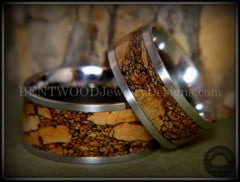 Bentwood Rings Set - Mediterranean Oak Burl on Surgical Steel Core with Cremation Ashes Inlay - Bentwood Jewelry Designs - Custom Handcrafted Bentwood Wood Rings  - 3