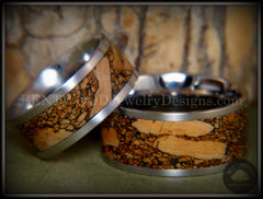 Bentwood Rings Set - Mediterranean Oak Burl on Surgical Steel Core with Cremation Ashes Inlay - Bentwood Jewelry Designs - Custom Handcrafted Bentwood Wood Rings  - 2