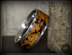 "Bentwood Ring - ""Figured Spalting"" Rare Mediterranean Oak Wood Ring with Surgical Grade Stainless Steel Comfort Fit Metal Core handcrafted bentwood wooden rings wood wedding ring engagement"