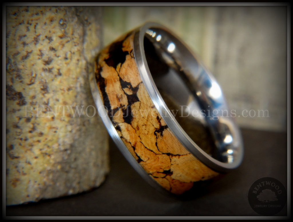 "Bentwood Ring - ""Figured Spalting"" Rare Mediterranean Oak Wood Ring with Surgical Grade Stainless Steel Comfort Fit Metal Core - Bentwood Jewelry Designs - Custom Handcrafted Bentwood Wood Rings  - 1"
