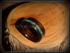 Bentwood Ring - Macassar Ebony Wood Ring and Offset Chrysocolla Stone Inlay - Bentwood Jewelry Designs - Custom Handcrafted Bentwood Wood Rings  - 4