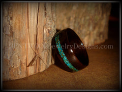 Bentwood Ring - Macassar Ebony Wood Ring and Offset Chrysocolla Stone Inlay - Bentwood Jewelry Designs - Custom Handcrafted Bentwood Wood Rings  - 6