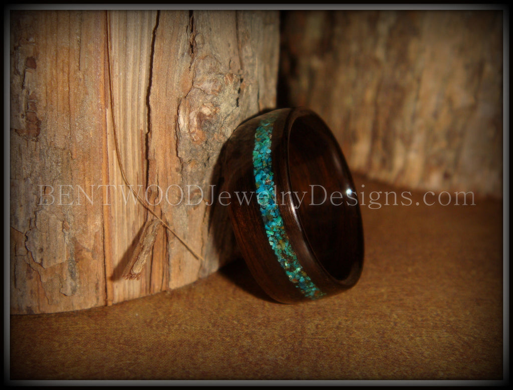 Bentwood Ring - Macassar Ebony Wood Ring and Offset Chrysocolla Stone Inlay - Bentwood Jewelry Designs - Custom Handcrafted Bentwood Wood Rings  - 1