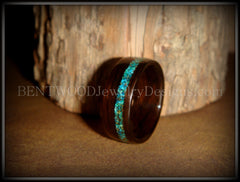Bentwood Ring - Macassar Ebony Wood Ring and Offset Chrysocolla Stone Inlay - Bentwood Jewelry Designs - Custom Handcrafted Bentwood Wood Rings  - 3