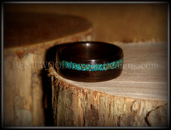 Bentwood Ring - Macassar Ebony Wood Ring and Offset Chrysocolla Stone Inlay - Bentwood Jewelry Designs - Custom Handcrafted Bentwood Wood Rings