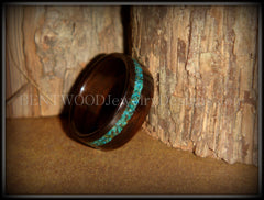 Bentwood Ring - Macassar Ebony Wood Ring and Offset Chrysocolla Stone Inlay - Bentwood Jewelry Designs - Custom Handcrafted Bentwood Wood Rings  - 2