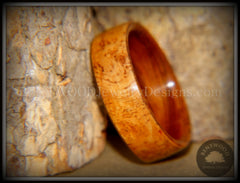 Bentwood Ring - Golden Amboyna Burl with Rosewood Liner - Bentwood Jewelry Designs - Custom Handcrafted Bentwood Wood Rings
