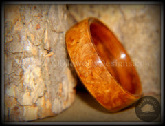 Bentwood Ring - Golden Amboyna Burl with Rosewood Liner handcrafted bentwood wooden rings wood wedding ring engagement