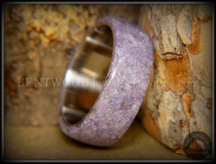 "Bentwood Ring - ""The Dreamer"" Charoite Stone with Titanium Steel Comfort Fit Metal Core - Bentwood Jewelry Designs - Custom Handcrafted Bentwood Wood Rings"